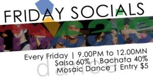 Friday Salsa Social @ Mosaic Dance @ Mosaic Dance 261 Waterloo Steet, Waterloo Centre, Singapore 180261 | Singapore | Singapore